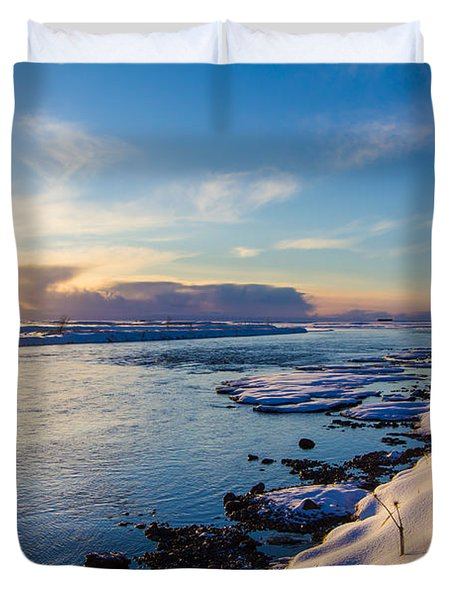 Winter Sunset In Iceland Duvet Cover