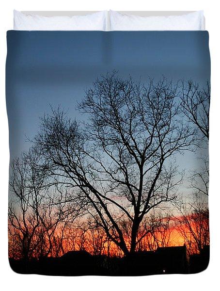 Winter Sunset Duvet Cover by Karen Adams