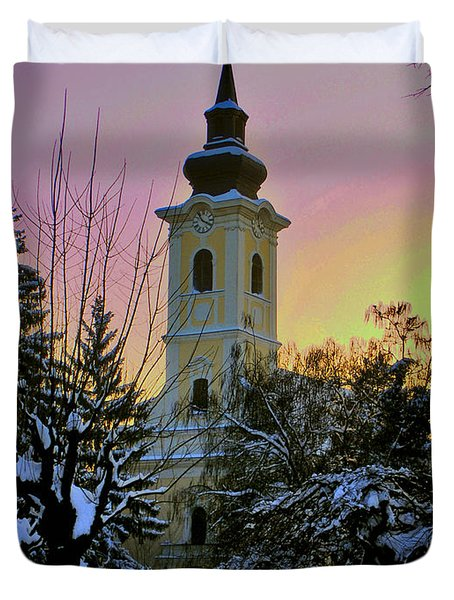 Duvet Cover featuring the photograph Winter Sunset by Nina Ficur Feenan