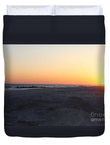 Winter Sunset On Long Beach Duvet Cover
