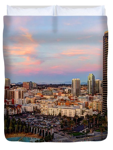 Duvet Cover featuring the photograph Winter Sunset San Diego by Heidi Smith