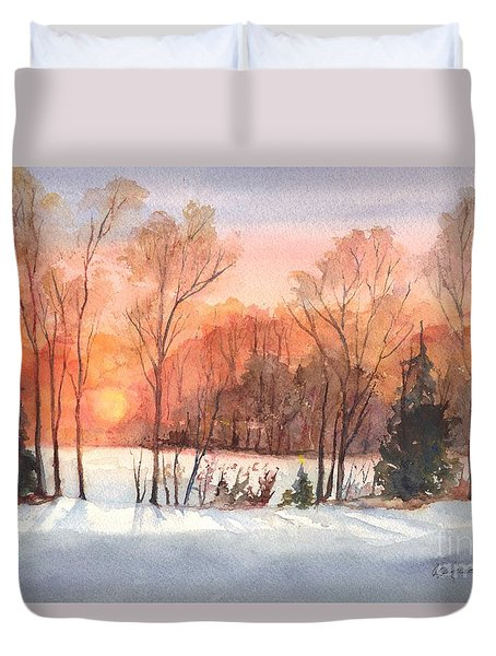 A Hedgerow Sunset Duvet Cover