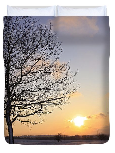 Winter Sunset Uk Duvet Cover