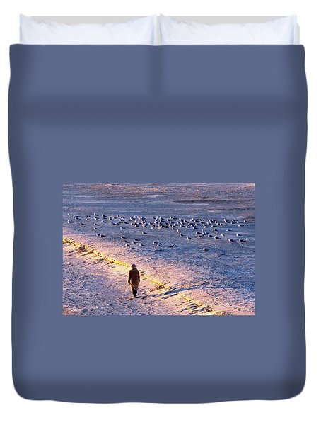 Duvet Cover featuring the photograph Winter Time At The Beach by Cynthia Guinn