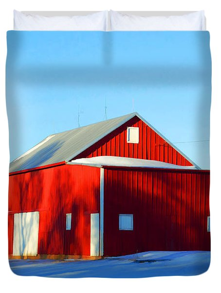 Winter Time Barn In Snow Duvet Cover by Luther Fine Art