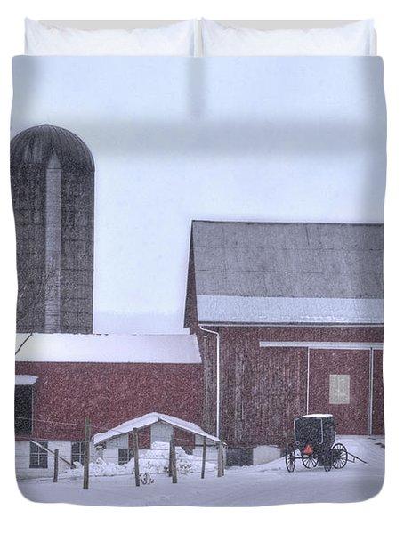Winter Time Garrett County Maryland Duvet Cover by Dan Friend