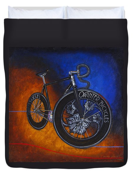 Winter Track Bicycle Duvet Cover by Mark Jones