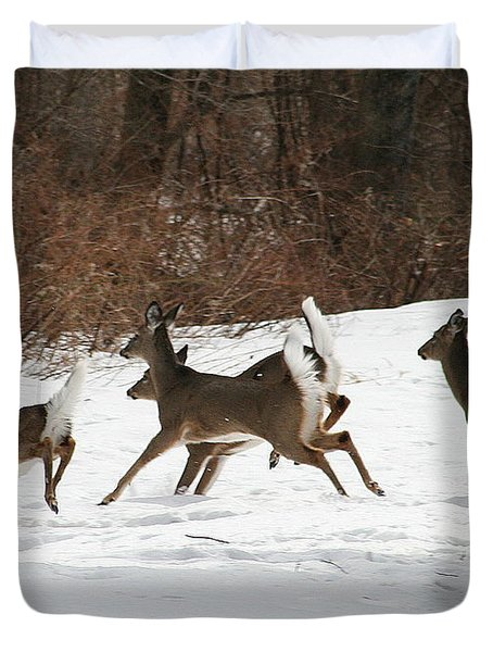 White Tailed Deer Winter Travel Duvet Cover by Neal Eslinger