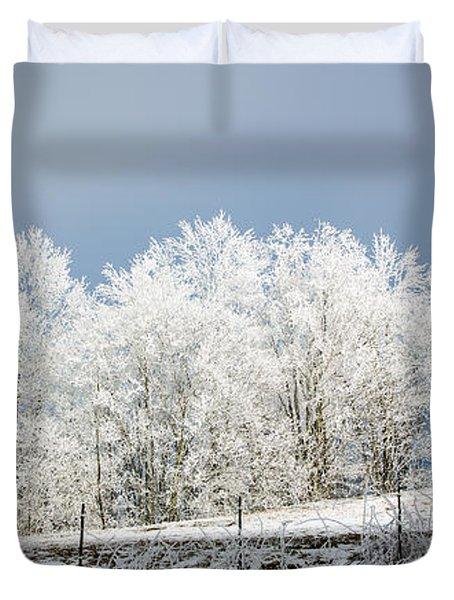 Winter Treeline Panorama Duvet Cover by John Haldane