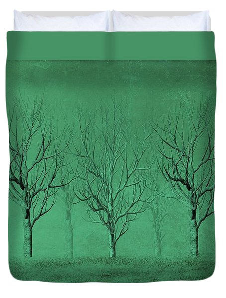 Winter Trees In The Mist Duvet Cover by David Dehner
