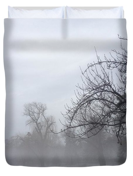 Duvet Cover featuring the photograph Winter Trees With Mist by Jeannie Rhode