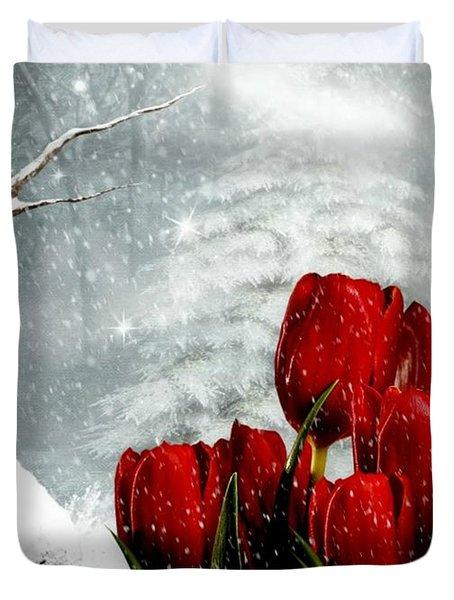 Winter Tulips Duvet Cover