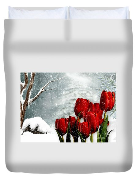 Winter Tulips Duvet Cover