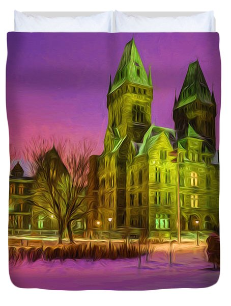 Winter Twilight At Buffalo Psych Center N2 Duvet Cover