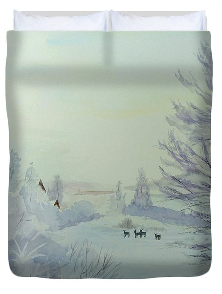 Winter Visitors Duvet Cover
