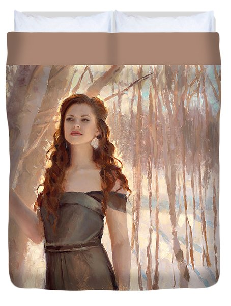 Winter Warmth - Figure In The Landscape Duvet Cover