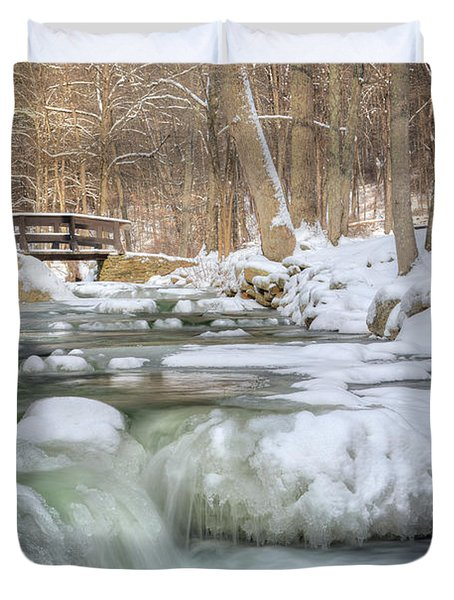 Duvet Cover featuring the photograph Winter Water by Bill Wakeley