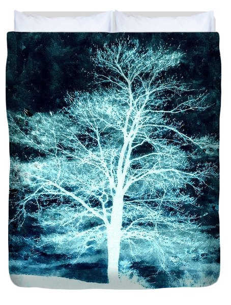Winter Whispers Through The Night Duvet Cover