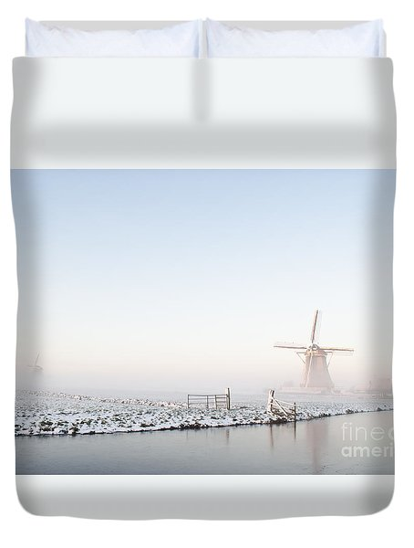Winter Windmill Landscape In Holland Duvet Cover