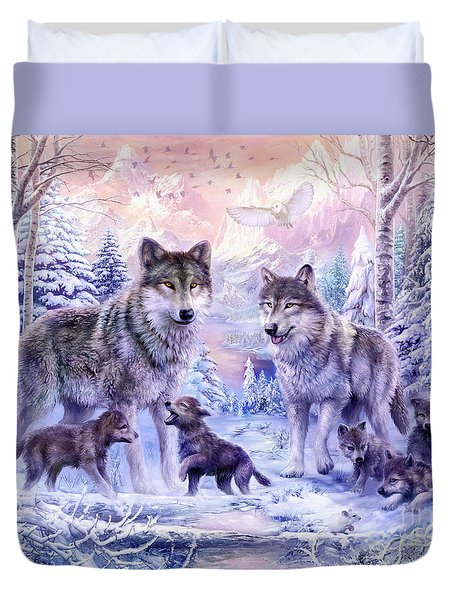 Winter Wolf Family  Duvet Cover