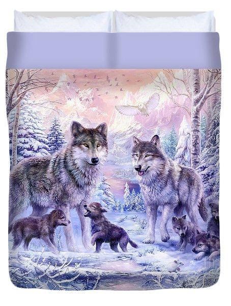 Winter Wolf Family  Duvet Cover by Jan Patrik Krasny