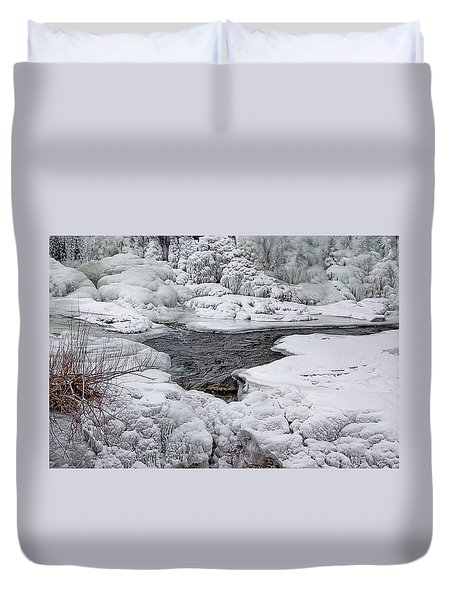 Duvet Cover featuring the photograph Vermillion Falls Winter Wonderland by Patti Deters