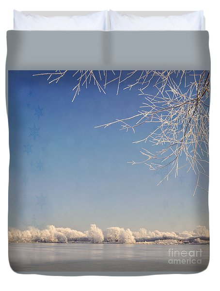 Winter Wonderland With Snowflakes Decoration. Duvet Cover by Lyn Randle