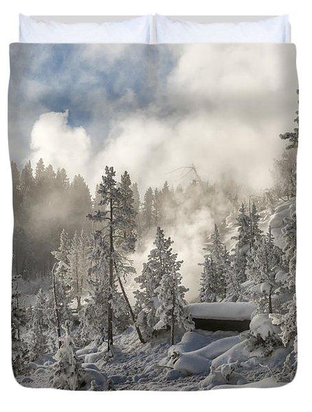 Winter Wonderland - Yellowstone National Park Duvet Cover by Sandra Bronstein