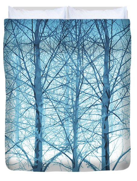 Winter Woodland In Blue Duvet Cover