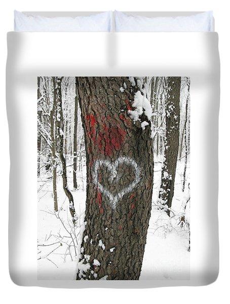 Winter Woods Romance Duvet Cover by Ann Horn