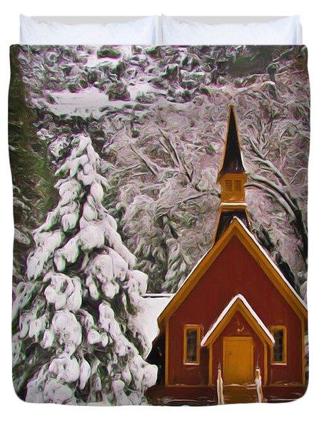 Winter Yosemite Chapel Duvet Cover by Heidi Smith