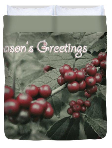 Duvet Cover featuring the photograph Winterberry Greetings by Photographic Arts And Design Studio