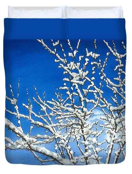 Duvet Cover featuring the painting Winter's Artistry by Barbara Jewell