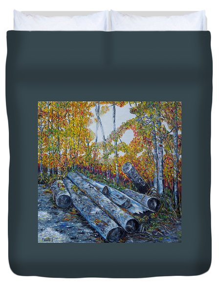 Winter's Firewood Duvet Cover