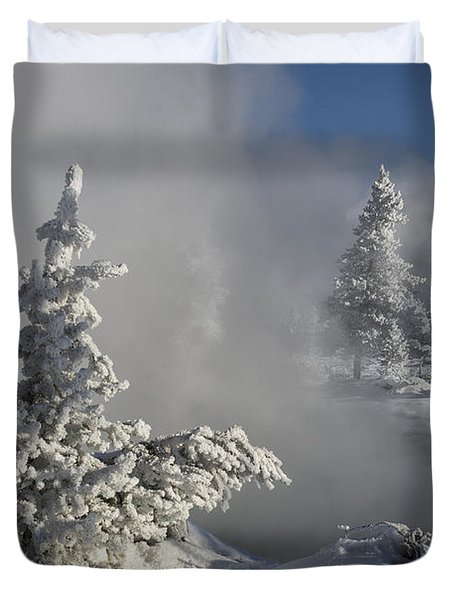 Winter's Glory - Yellowstone National Park Duvet Cover by Sandra Bronstein