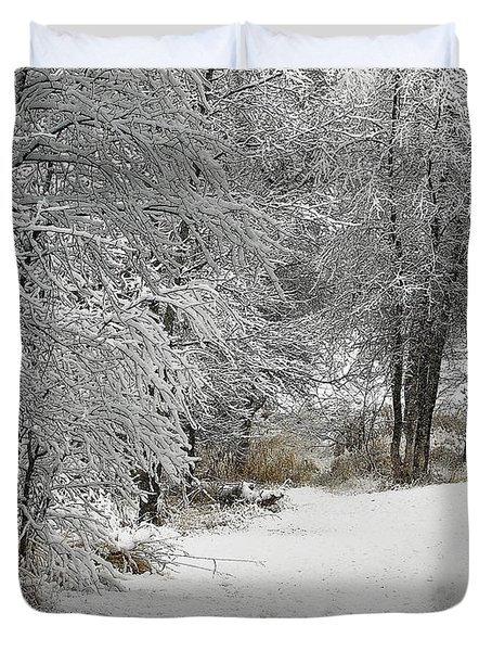Duvet Cover featuring the photograph Winter's Kiss by Don Schwartz