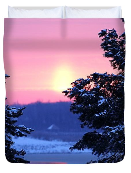 Duvet Cover featuring the photograph Winter's Sunrise by Elizabeth Winter