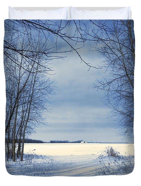Wintertime At Sheldon Marsh Duvet Cover