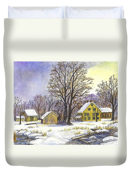 Duvet Cover featuring the painting Wintertime In The Country by Carol Wisniewski