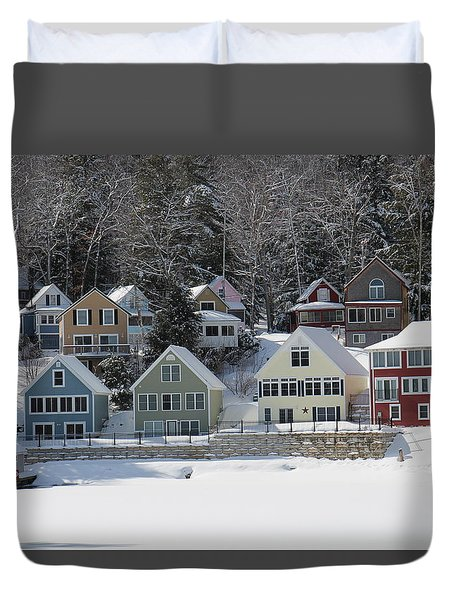 Wintery Alton Bay Nh Duvet Cover