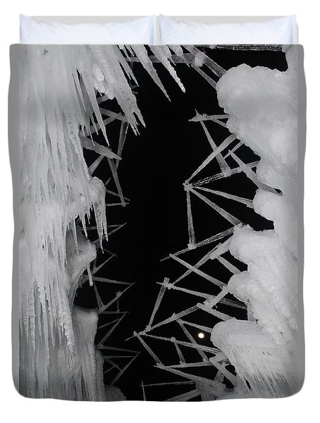 Wintery Ice Farming  Duvet Cover