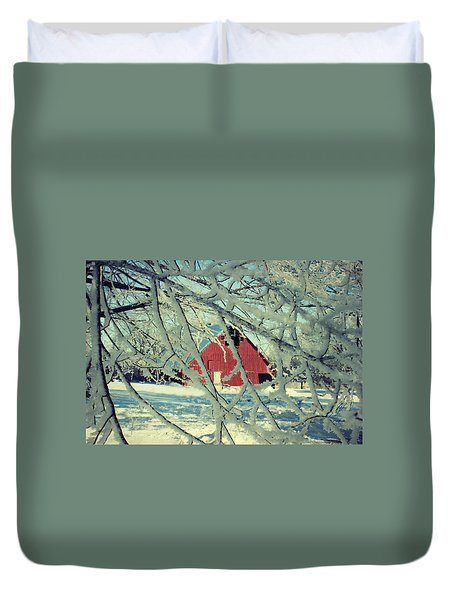 Our Frosty Barn Duvet Cover