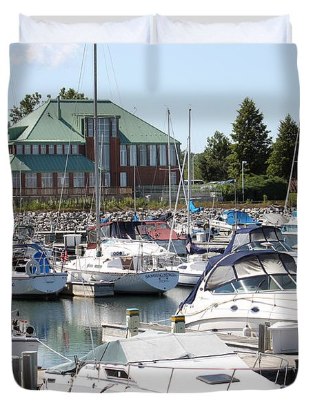 Duvet Cover featuring the photograph Winthrop Harbor by Debbie Hart