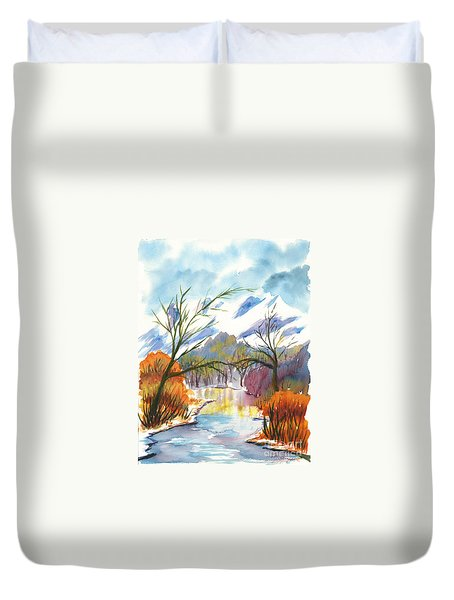 Wintry Reflections Duvet Cover