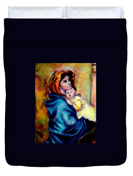 Mondonna Of The Street By Roberto Ferrizzi, Rendition In Pastel Antonia Citrino,  Sold.        Duvet Cover