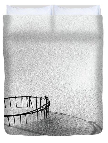 Wire Basket In Snow Duvet Cover