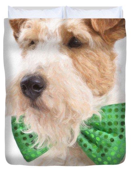 Wire Fox Terrier With Bowtie Duvet Cover by Verena Matthew