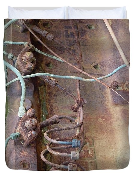 Duvet Cover featuring the photograph Wired by Newel Hunter
