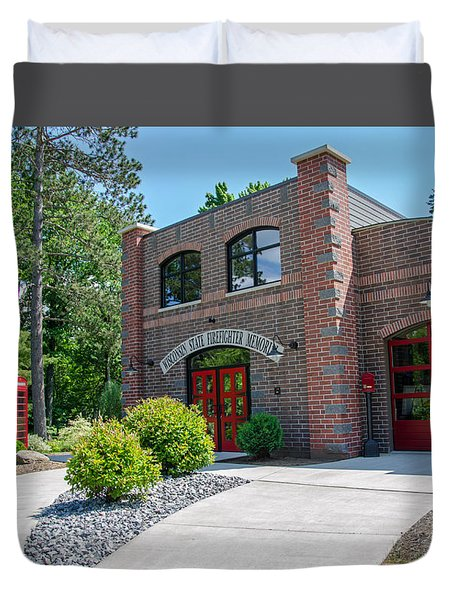 Duvet Cover featuring the photograph Wisconsin State Firefighters Memorial 6 by Susan  McMenamin