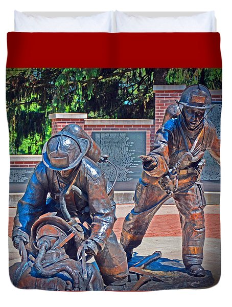 Duvet Cover featuring the photograph Wisconsin State Firefighters Memorial Park 2 by Susan  McMenamin